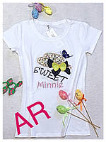 Женская стильная футболки с апликациями,в расцветках