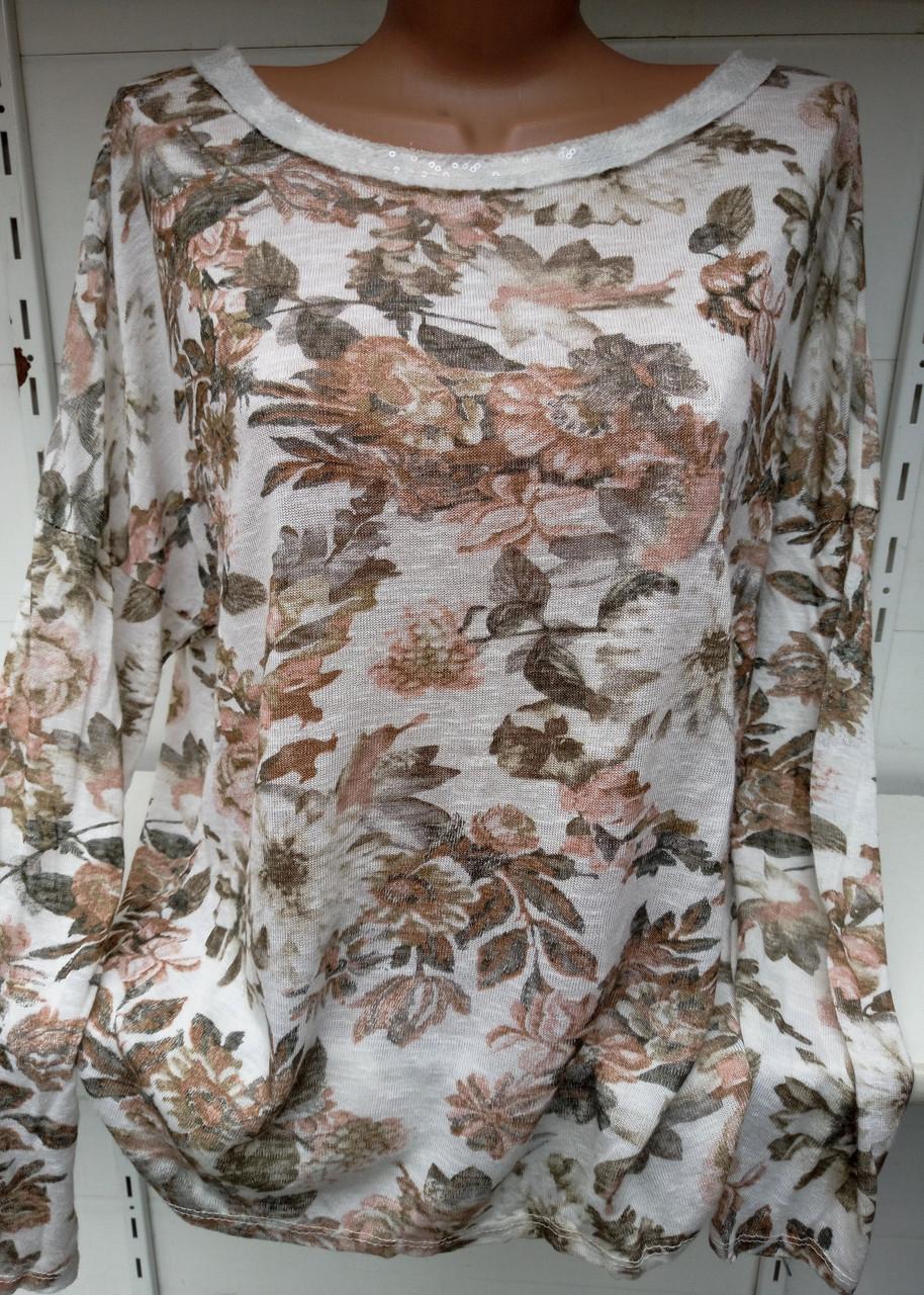Блуза с цветочным принтом женская батальная