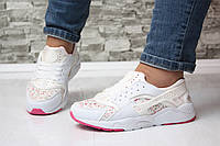 Кроссовки в стиле хуараче белые с цветоками