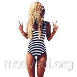 Жіночий відрядний купальник, чорно-біла смужка, розмір M, злитий