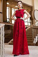 Роскошное Длинное Платье из Органзы Красное S-XL