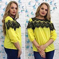 Блуза женская батал шифон + гипюр