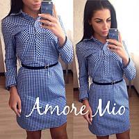 Молодежное платье-рубашка в синюю клетку