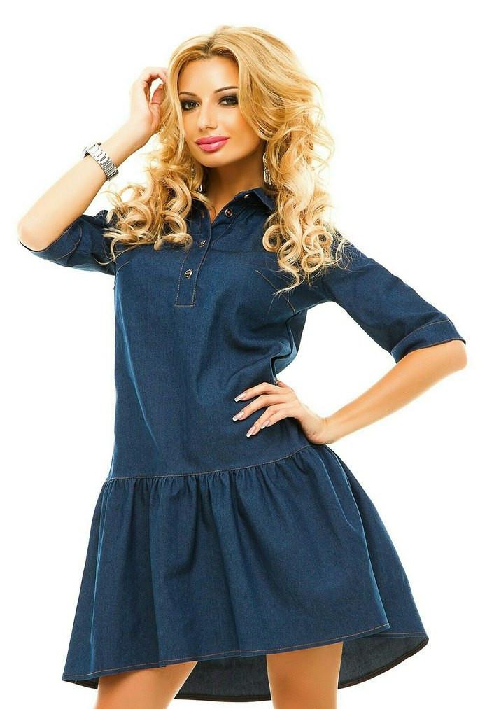 e3efdc0ffa149b4 Стильное женское платье стрейч-джинс модного фасона -