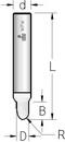 Фреза гравировальная закругленная однозубая WPW Израиль D4,8-B6,5-L38-d6