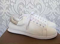 Кожаные кроссовки Alexander McQueen, Маквин, белого цвета, белый цвет, серебро, Prada, оригинал