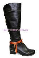 Сапоги женские демисезонные кожаные на устойчивом каблуке