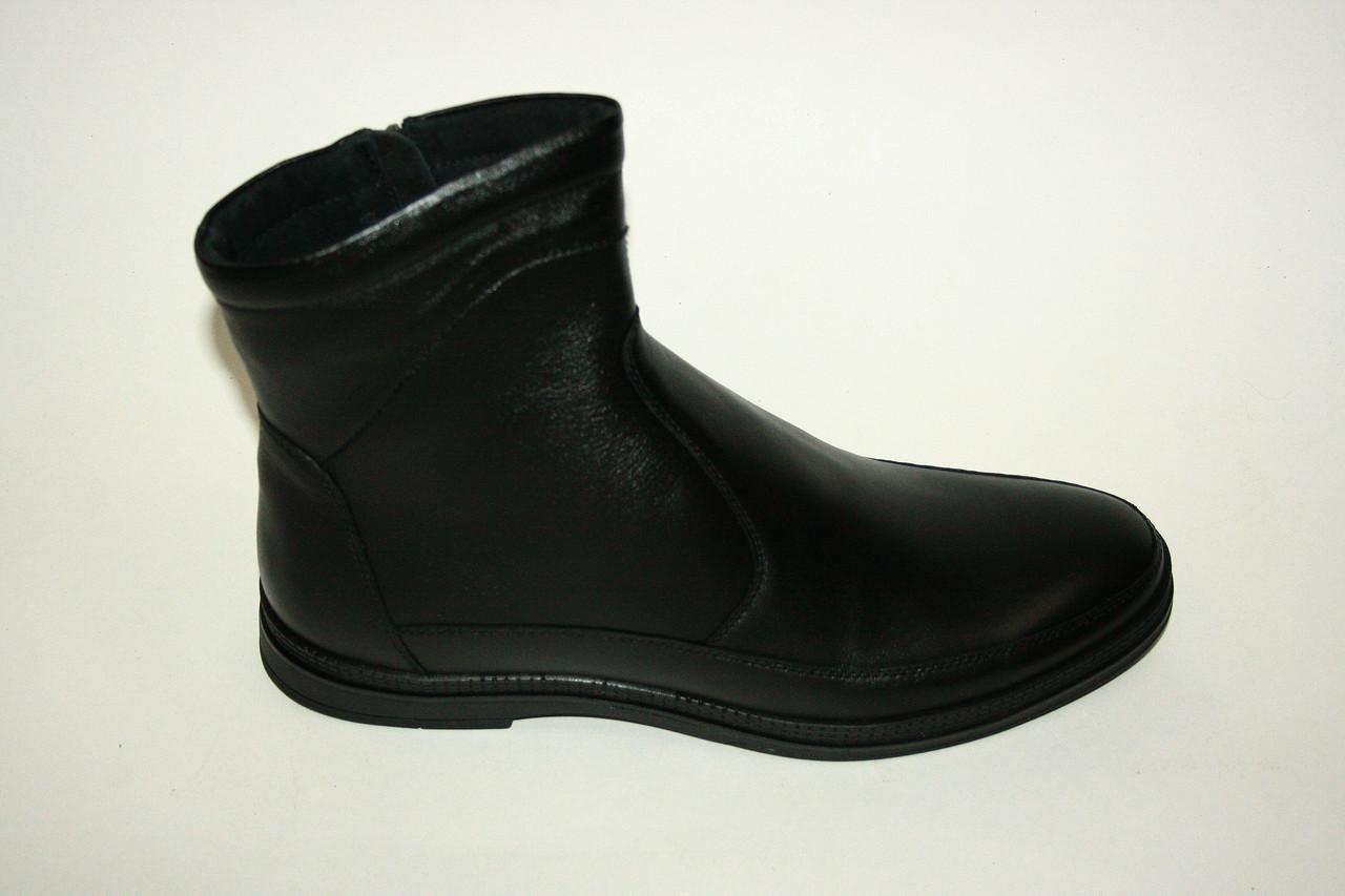 Зимние высокие кожаные мужские ботинки в черном цвете/man shoes 16203ч.х