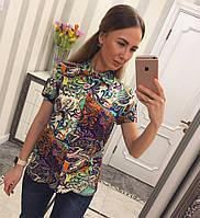 Рубашка Цветная Блуза Фрак Воротник Короткий Рукав Стильная Блузка