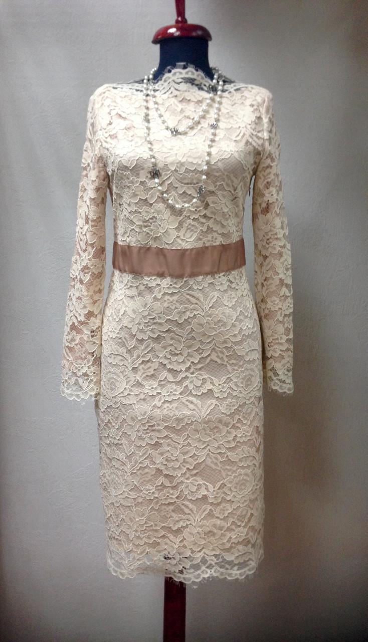 e2fcac3da Платье кружевное бежевое миди с длинным рукавом - Интернет-магазин