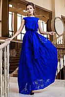 Шикарное Вечернее Платье в Пол из Органзы Электрик S-XL