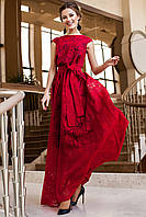 Шикарное Вечернее Платье в Пол из Органзы Красное М, L, XL