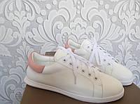 Кожаные кроссовки Alexander McQueen, Маквин, белого цвета, белый цвет, пудра, Prada, оригинал