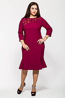 Женское модное платье с перфорацией Анюта цвет фуксия размер 52,54 / батал