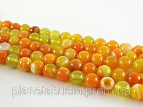 8 мм Оранжевый Полосатый Агат, CN130, Натуральный камень, Форма: Шар, Отверстие: 1 мм, кол-во: 47-48 шт/нить, фото 2