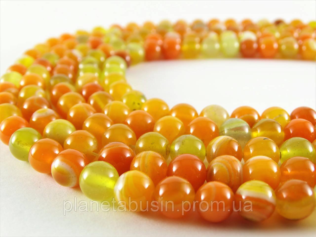 8 мм Оранжевый Полосатый Агат, CN130, Натуральный камень, Форма: Шар, Отверстие: 1 мм, кол-во: 47-48 шт/нить