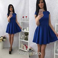 Стильное короткое платье с широкой юбкой, синее