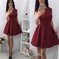 Стильное короткое платье с широкой юбкой