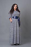 Длинное платье мод 487-1, размеры 50-52, 52-54, 54-56 ,  гусина лапка, фото 1