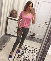 Качественные женские джинсы с вышивкой и бусинами Зеленый, ХС