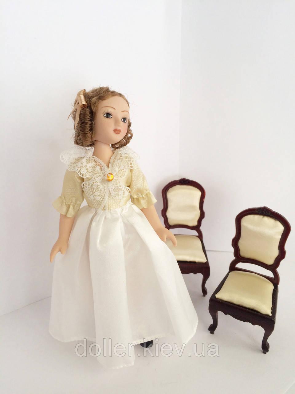 """Коллекционная кукла """"Дамы эпохи"""" в белом (18 см.)"""