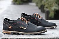 Туфли кожаные Columbia реплика мужские модельные черные 2017. Со скидкой