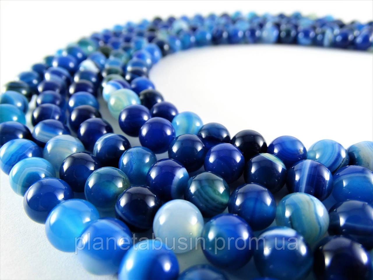 8 мм Синий Полосатый Агат, CN133, Натуральный камень, Форма: Шар, Отверстие: 1 мм, кол-во: 47-48 шт/нить