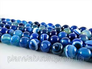 8 мм Синий Полосатый Агат, CN133, Натуральный камень, Форма: Шар, Отверстие: 1 мм, кол-во: 47-48 шт/нить, фото 2