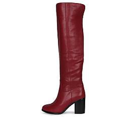 Элегантные бордовые кожаные ботфорты на каблуке VLLADOR скидка