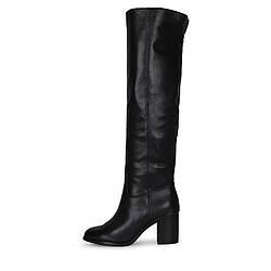 Элегантные женские черные кожаные ботфорты на каблуке VLLADOR скидка
