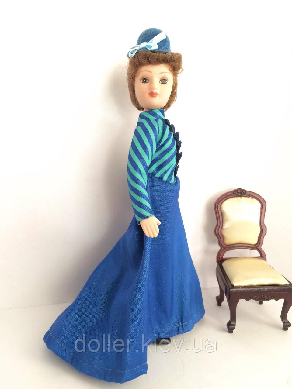 """Коллекционная кукла """"Дамы эпохи"""" в синем (18 см.)"""