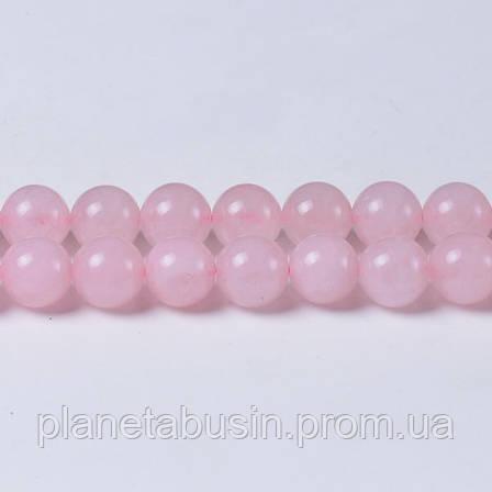 8 мм Розовый Кварц, CN135, Натуральный камень, Форма: Шар, Отверстие: 1 мм, кол-во: 47-48 шт/нить, фото 2