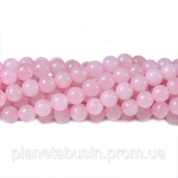 8 мм Розовый Кварц, CN135, Натуральный камень, Форма: Шар, Отверстие: 1 мм, кол-во: 47-48 шт/нить