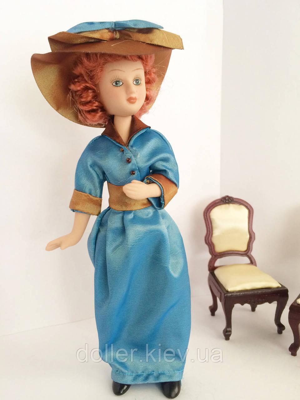 """Коллекционная кукла """"Дамы эпохи"""" в бирюзовой шляпе (18 см.)"""