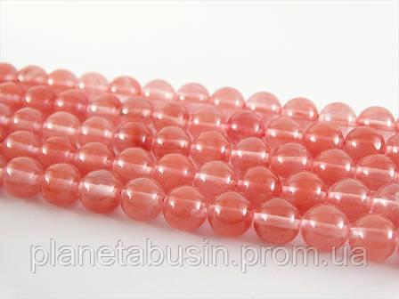 8 мм Розовый Турмалин (Черри Кварц), CN136, Натур. камень, Форма: Шар, Отверстие: 1 мм, кол-во: 47-48 шт/нить, фото 2