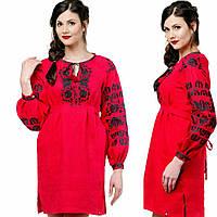 Красное женское вышитое платье на льне