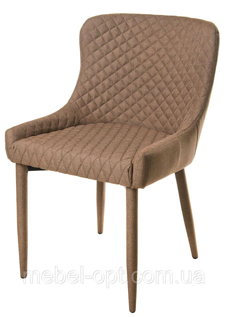 Стул  М-20, спинка, сиденье и ножки обтянуты бежевой тканью, мебель в стиле модерн, для дома, HoReCa, офиса