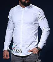 Стильная белоснежная мужская рубашка, фото 1