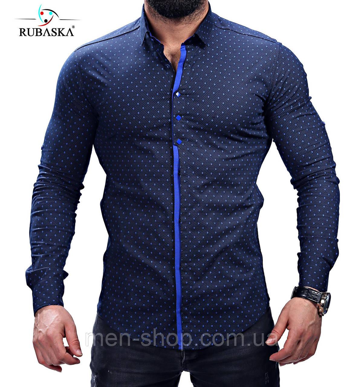 777d7f6ed79 Модная синяя мужская рубашка  продажа