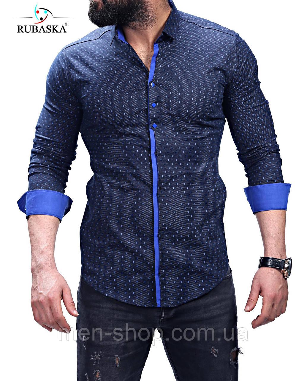 b2431e52914 Модная синяя мужская рубашка  продажа