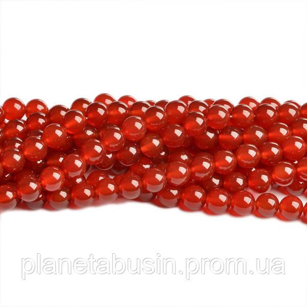 8 мм Красный Сердолик ААА качество, CN138, Натур. камень, Форма: Шар, Отверстие: 1 мм, кол-во: 47-48 шт/нить