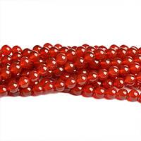Красный сердолик, Натуральный камень, На нитях, бусины 8 мм, Круглые, Отверстие 1 мм, кол-во: 48 шт/нить