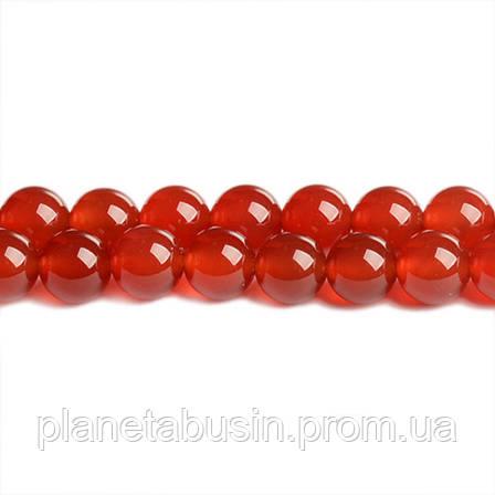 8 мм Красный Сердолик ААА качество, CN138, Натур. камень, Форма: Шар, Отверстие: 1 мм, кол-во: 47-48 шт/нить, фото 2
