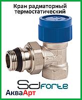 Кран радиаторный термостатический угловой с прокладкой антипротечка Sd Forte 1/2