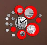 "Часы зеркальные ""круги зеркальные красно-серебристые"" , часы наклейки круги"