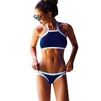 Стильный раздельный женский купальник, размер S, цвет синий