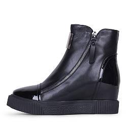 Модные зимние женские черные кожаные сникерсы на скрытой танкетке  A-Vani