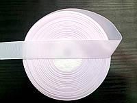 Лента репсовая, цвет белый , ширина 2.5см (48м в рулоне)