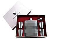Подарочный набор фляга, 4 стопки, лейка кожа+металл №GT-060-1