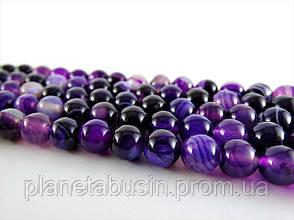 8 мм Фиолетовый Полосатый Агат, CN145, Натуральный камень, Форма: Шар, Отверстие: 1 мм, кол-во: 47-48 шт/нить, фото 2